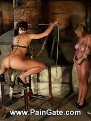 Two juicy painslaves suffering in real fear and most serious whipping hellpain.