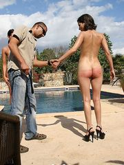 Three hot babes punished nude at the pool under the hot southern sun.