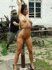 Hot beauty Alex in an extreme pussy whipping orgasm on the outdoor whipping post!