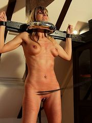 Sweet long-haired Mercedes has to endure a special whipping punishment on tits and cunt in the torture rack.