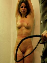 Make a cute inmate suffer in real fear and pain by the stinging leather flogger.