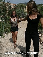 Exeptional hard outdoor whipping of a juicy nude roped slavegirl.
